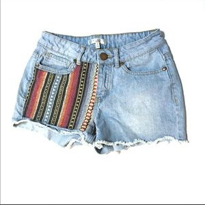 Tribal festive blue jean cut off shorts